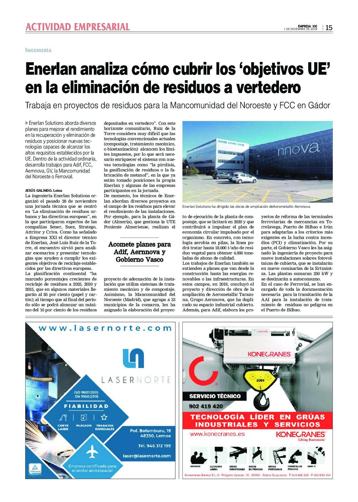 Artículo de Enerlan en Empresa XXI